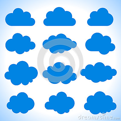 Set of 12 blue clouds