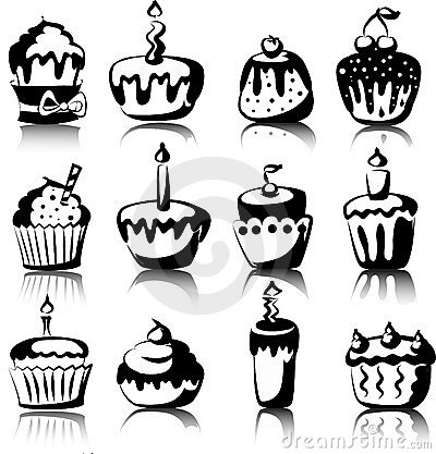 Set of 12 cupcakes, vector