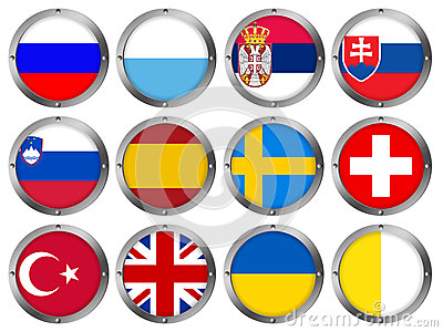 Set of 12 Flags in Round Metal Frame-Europe 4