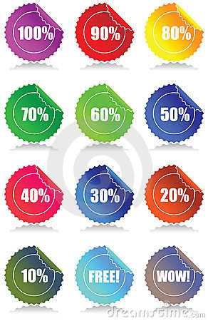 Set of 12 Glossy sales tags