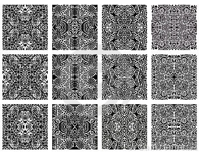 Set of 12 monochrome modern seamless patterns