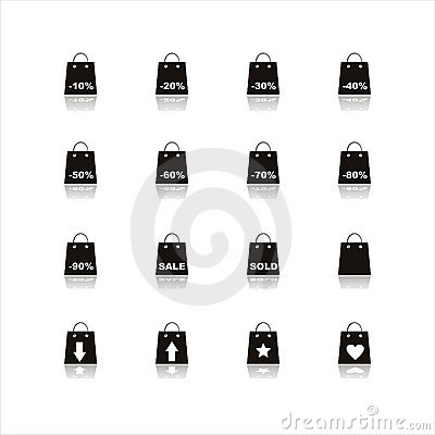 Set of 16 shopping bags icons