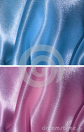 Set of 2 draped satin backgrounds - blue and pink
