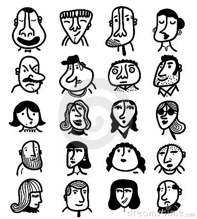 Set of 20 icon outline faces