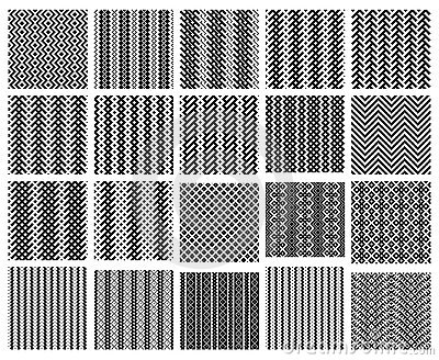 Set of 20 monochrome simply seamless patterns