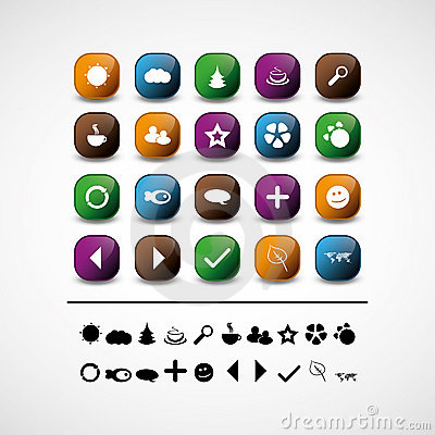 Set of 20 web icons and design elements