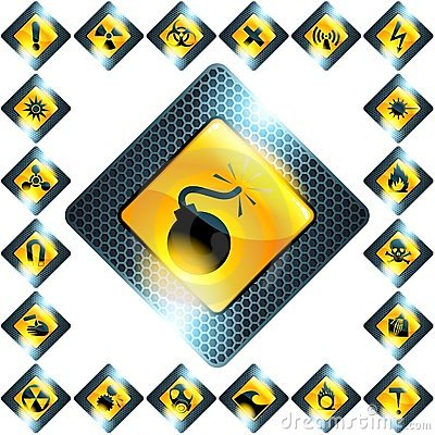 Set of 21 yellow hazard signs