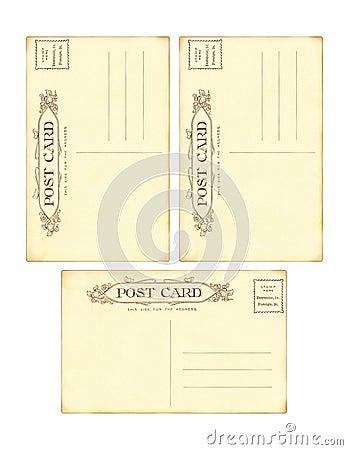 Set of 3 Antique vintage postcard backs