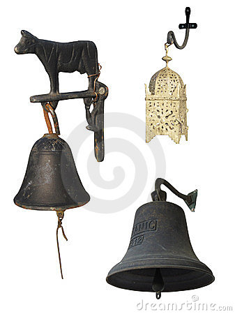 Set of 3 bells with clipping paths.