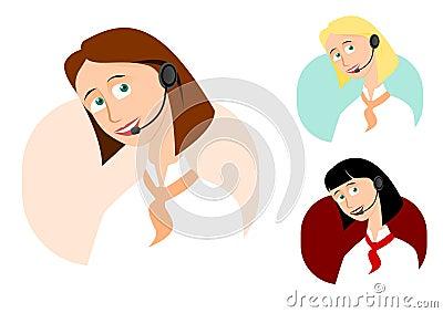 Set of 3 call-center girls
