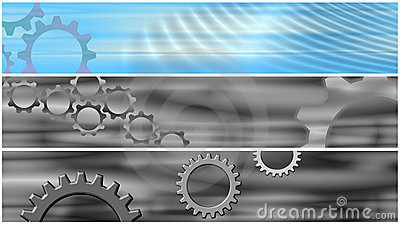 Set 3 Cogs Header Banners