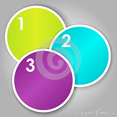 Set 3 of numbered round stickers