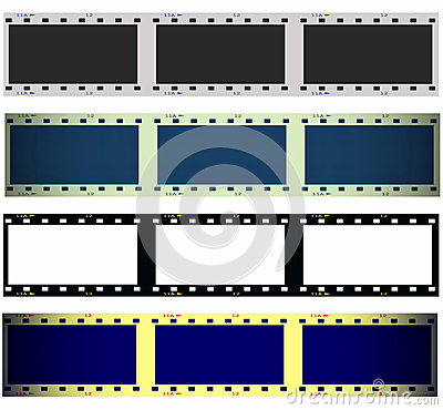 Set 35 mm film strip isolated on white