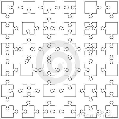 Set of 36 puzzle pieces