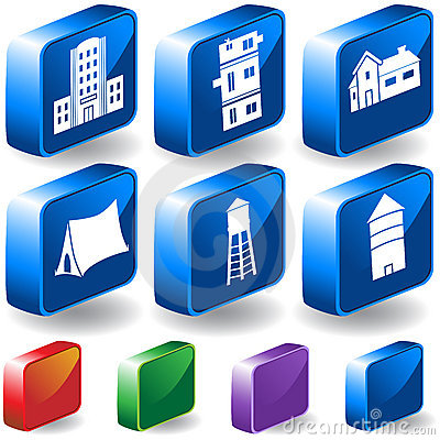 Set of 3D Building Icons