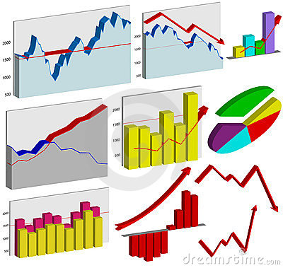 Set of 3d business graphs
