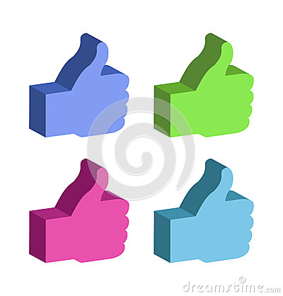 Set of 3d colorful Thumb Up