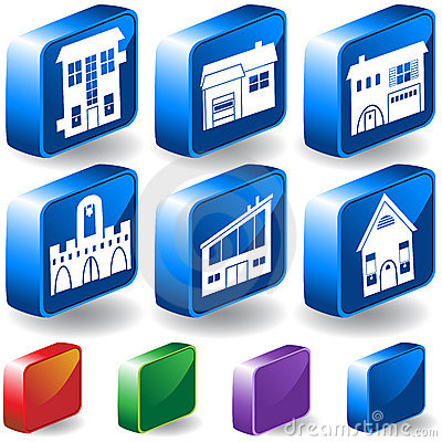 Set of 3D Home/Building Icons