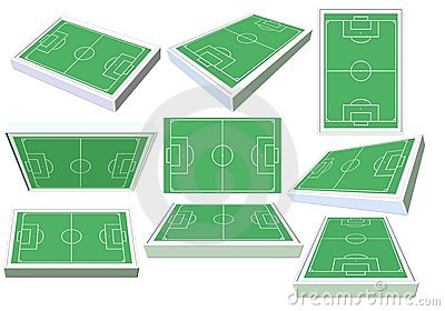Set of 3D soccer fields from different angles.