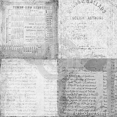 Set of 4 antique vintage manuscript textures