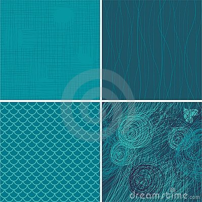 Set of 4 blue seamless backgrounds in vector