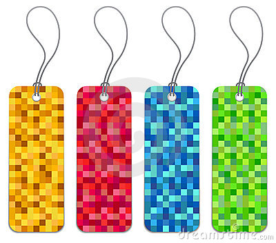 Set of 4 checkered shopping tags