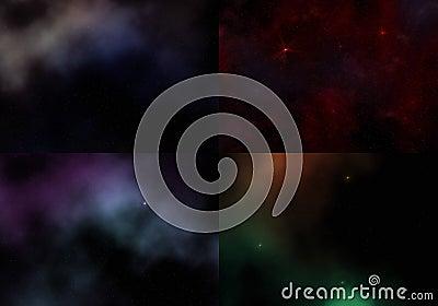 Set of 4 cosmic sky patterns