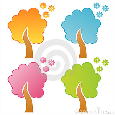 Set of 4  floral trees