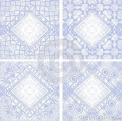 Set 4 Grungy denim floral jeans vector background.
