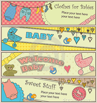 Set of 4 horizontal baby themed banners