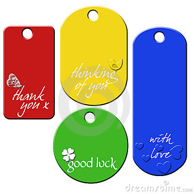 Set of 4 message tags
