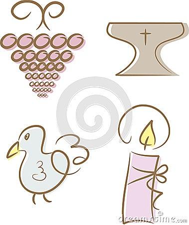 Set of 4 religious/christian icons