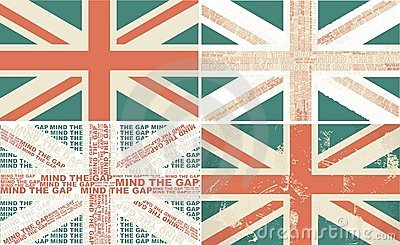 Set of 4 retro flags of the UK in vector