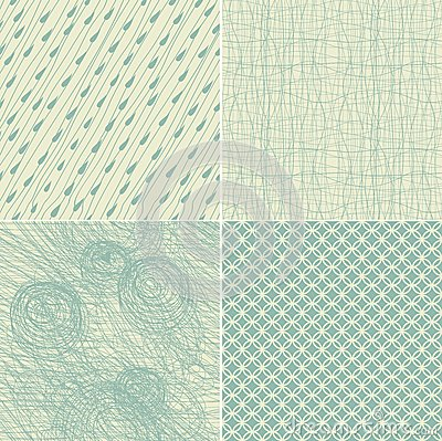 Set of 4 seamless doodle backgrounds