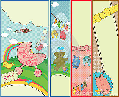 Set of 4 vertical baby themed banners