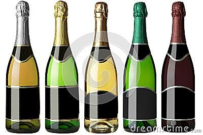 Set 5 bottles with black labels