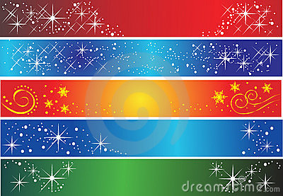 Set of 5 different holiday banners