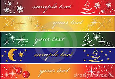 Set of 5 holiday banners