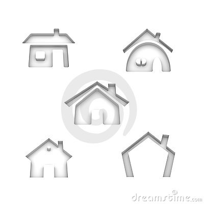 Set of 5 house icons