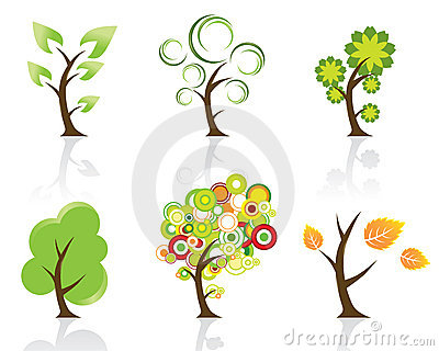 Set of 6 Abstract Swirly Trees