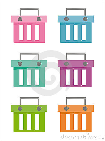 Set of 6 baskets icons