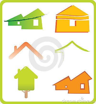 Set of 6 building real estate icons and design ele