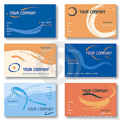 Set of 6 Business Cards in Orange and Blue Vector Illustration