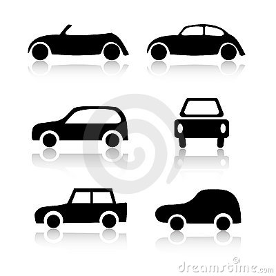 Set of 6 car icons