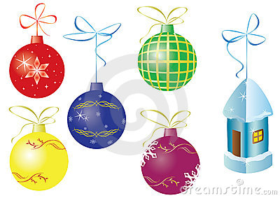 Set of 6 christmas vector decorations