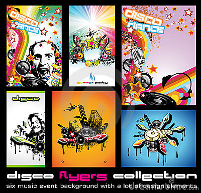 Set of 6 Colorful Background for Discoteque Flyers