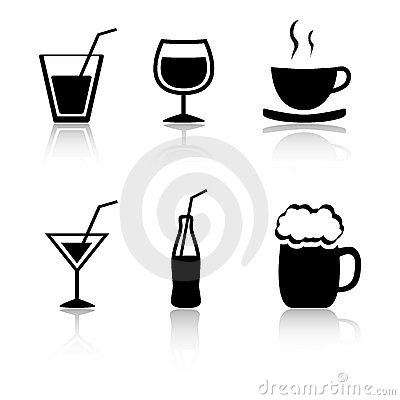 Set of 6 drink icons