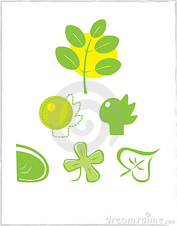 Set of 6 environmental icons and design elements