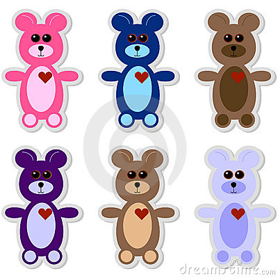Set of 6 Teddy Bear Stickers