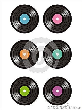 Set of 6 vinyl records icons